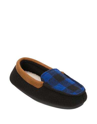 Dearfoam Plaid Moccasins-BLACK-9-10