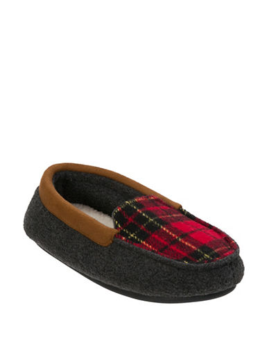 Dearfoam Plaid Moccasins-GREY-11-12