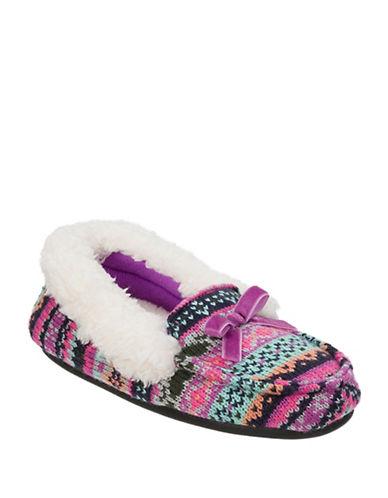 Dearfoam Girls Patterned Sweater Knit Moccasin Slippers-GREY-11-12