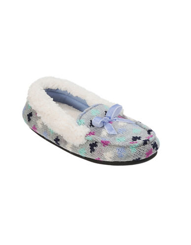 Dearfoam Girls Patterned Sweater Knit Moccasin Slippers-GREY-13