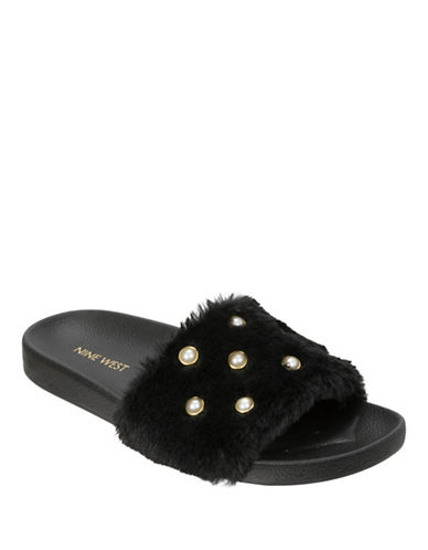 Nine West Faux Fur & Pearl Slide Slippers-BLACK-Small