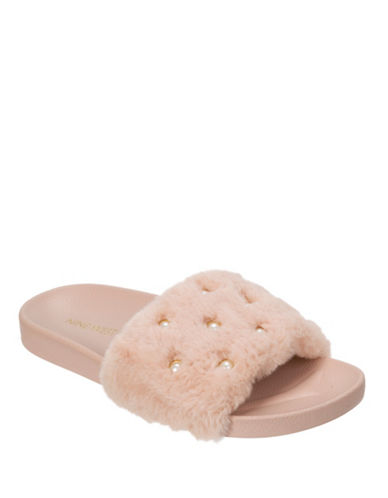 Nine West Faux Fur & Pearl Slide Slippers-PINK-Small