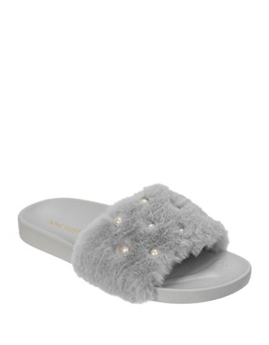 Nine West Faux Fur & Pearl Slide Slippers-GREY-X-Large