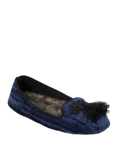 Nine West Quilted Smoking Slippers-BLUE-Small