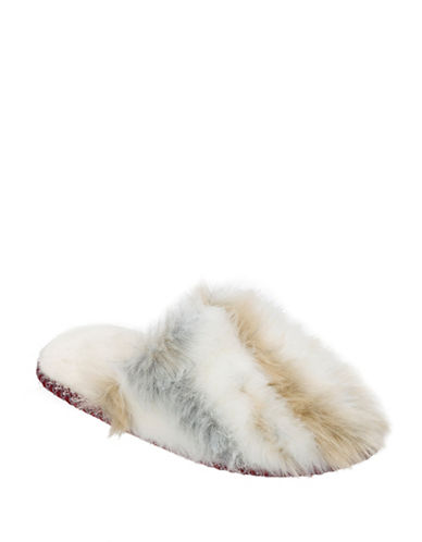 Nine West Faux Fur Scuff Slippers-BROWN-Small