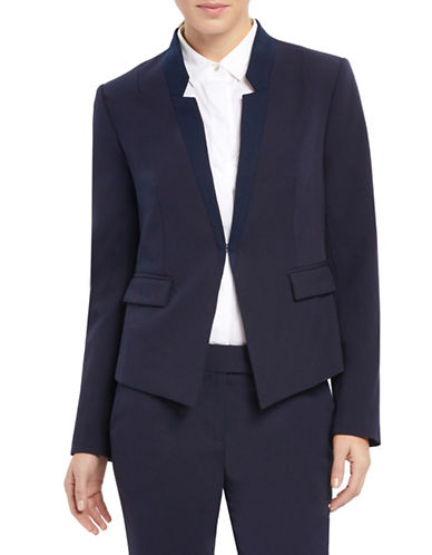 Ellen Tracy Reverse Notch Collar Jacket-NAVY-2