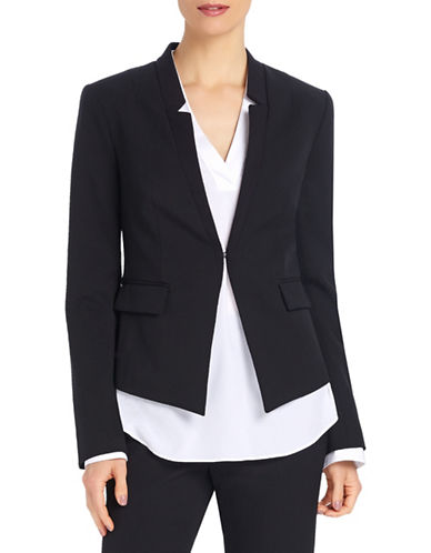 Ellen Tracy Petite Reverse Notch Collar Jacket-BLACK-Petite 8