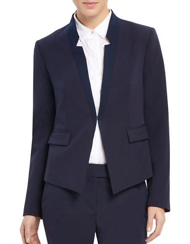 Ellen Tracy Petite Reverse Notch Collar Jacket-NAVY-Petite 12