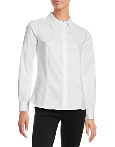 Ellen Tracy Signature Button Front Blouse-WHITE-Large