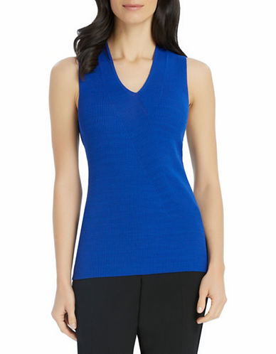 Ellen Tracy Slanted Rib Shell Top-BLUE-Medium 88352884_BLUE_Medium