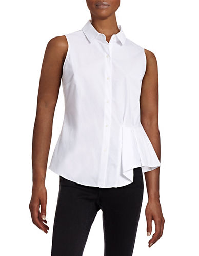 Ellen Tracy Sleeveless Button-Up Blouse-WHITE-Medium