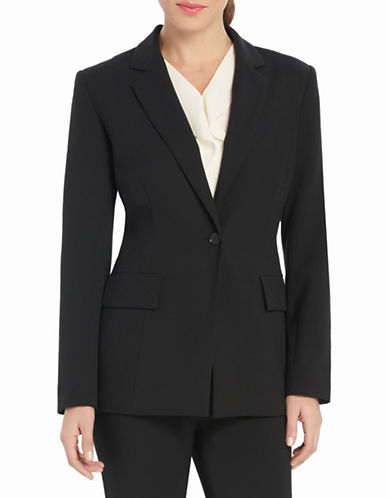 Ellen Tracy Fitted Boyfriend Blazer-BLACK-14