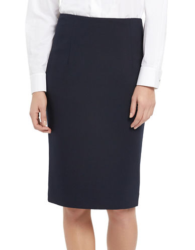Ellen Tracy High-Waist Pencil Skirt-NAVY-10