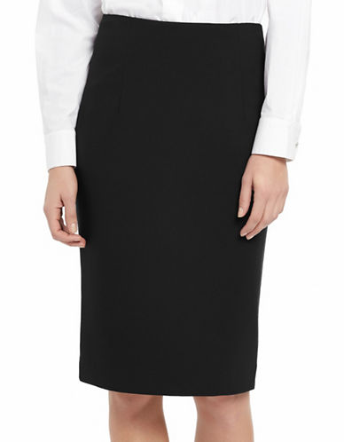 Ellen Tracy Petite High-Waist Pencil Skirt-BLACK-Petite 12