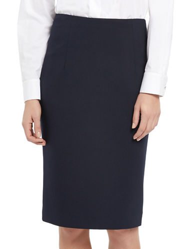Ellen Tracy Petite High-Waist Pencil Skirt-NAVY-Petite 4