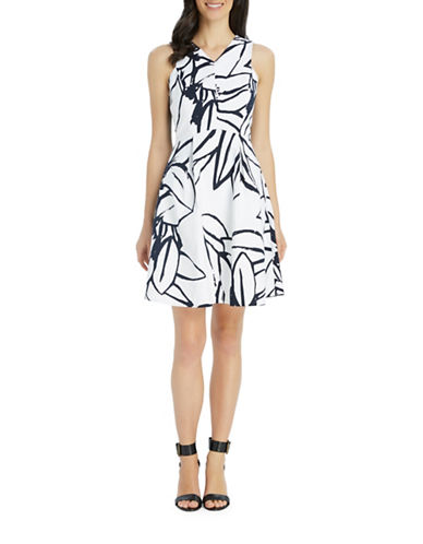 Ellen Tracy Crossover Poplin Fit-and-Flare Dress-WHITE/BLUE-8