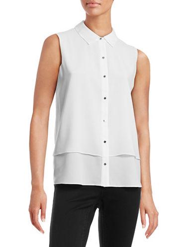 Ellen Tracy Double-Layer Crepe Button Tank-WHITE-X-Small 88415747_WHITE_X-Small
