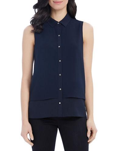 Ellen Tracy Double-Layer Crepe Button Tank-BLUE-X-Small 88459149_BLUE_X-Small