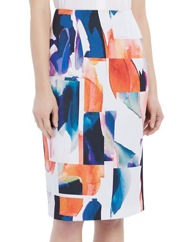 Ellen Tracy Petite Petite High-Waist Pencil Skirt-ORANGE MULTI-Petite 6