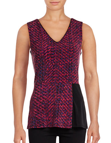 Ellen Tracy Digital Distortion Peplum Fold Top-RED-Medium