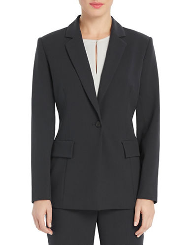 Ellen Tracy Fitted Boyfriend Blazer-CHARCOAL-6