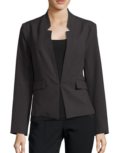 Ellen Tracy Reverse Notch Collar Jacket-CHARCOAL-10