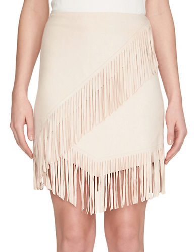 1 State Fringe Wrap Skirt-BEIGE-Medium
