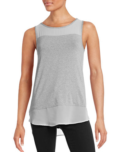 Vince Camuto Sleeveless Mixed Media Top-GREY-X-Small 88571981_GREY_X-Small