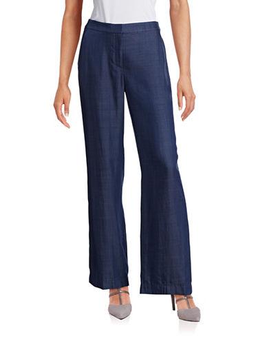 Vince Camuto Lyocell Chambray Wide-Leg Pants-PURPLE-10 plus size,  plus size fashion plus size appare