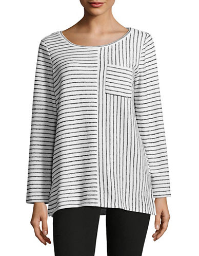Two By Vince Camuto Multi-Directional Stripe Pocket Top-WHITE-X-Small