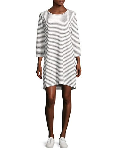 Two By Vince Camuto Three-Quarter Nautical Stripe Terry T-Shirt Dress-WHITE-X-Small