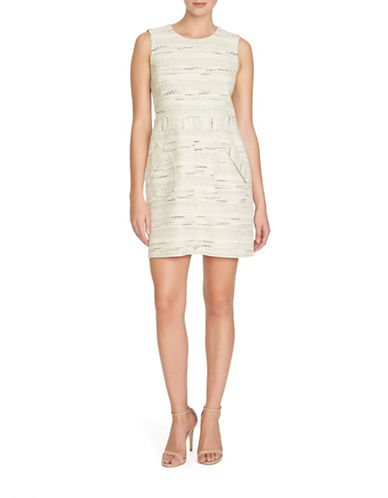 Cece Sleeveless Tweed Dress-WHITE-8