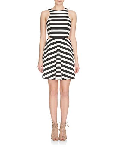 Cece Cut Out Stripe Ponte Dress-BLACK-12