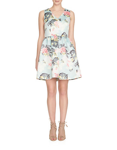 Cece V-Neck Floral Two-Piece Dress-GREEN-2