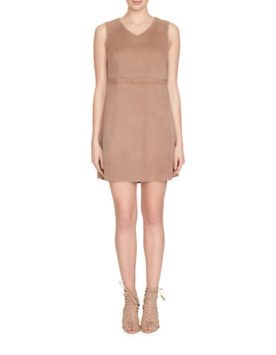 Cece Sleeveless Suede Shift Dress-BEIGE-8