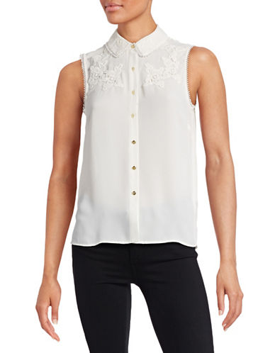 Cece Embellished Trim Blouse-WHITE-X-Small 88431690_WHITE_X-Small