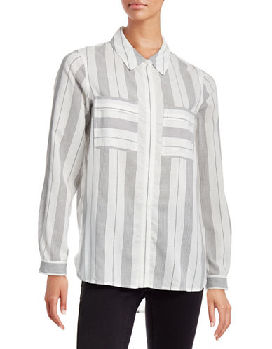 Two By Vince Camuto Woven Stripe Shirt-WHITE-X-Small