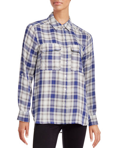 Two By Vince Camuto Plaid Button-Up Shirt-BLUE-X-Small