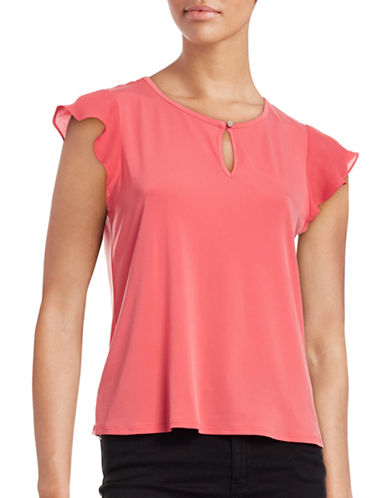 Cece Fluttery Sleeve Top-PINK-X-Small 88514380_PINK_X-Small