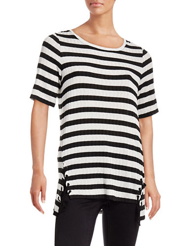 Two By Vince Camuto Stripe Lace-Up Stripe-BLACK-X-Small