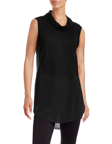 Two By Vince Camuto Knit-Woven Cowl Neck Top-BLACK-X-Small 88671651_BLACK_X-Small