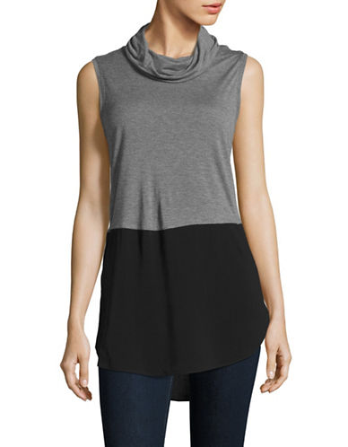 Two By Vince Camuto Knit-Woven Cowl Neck Top-GREY-X-Large 88671655_GREY_X-Large