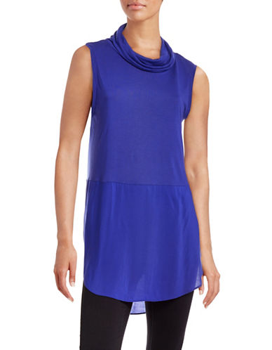 Two By Vince Camuto Knit-Woven Cowl Neck Top-BLUE-X-Small 88671661_BLUE_X-Small