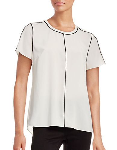 Vince Camuto Contrast Trim Top-WHITE-X-Large 88660493_WHITE_X-Large