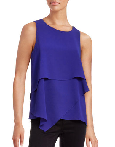 Vince Camuto Layered Sleeveless Crepe Top-BLUE-X-Large 88660508_BLUE_X-Large
