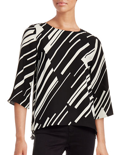 Vince Camuto Printed Three-Quarter Sleeve Top-BLACK-X-Small 88660514_BLACK_X-Small