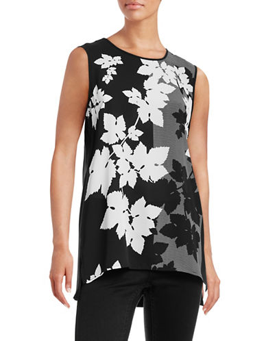Vince Camuto Floral Knit-Woven Top-BLACK-Medium 88660572_BLACK_Medium