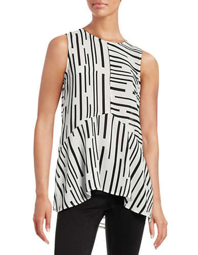 Vince Camuto Printed Hi-Lo Top-WHITE-X-Large 88660523_WHITE_X-Large