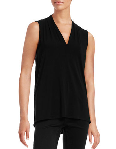 Vince Camuto Pleated Stretch Blouse-BLACK-Large
