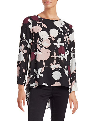Vince Camuto Draped Floral Top-PINK-X-Small 88699334_PINK_X-Small